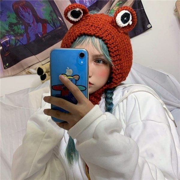Cute Knitted Frog Hat 4 - My Sweet Outfit - EGirl Outfits - Soft Girl Clothes