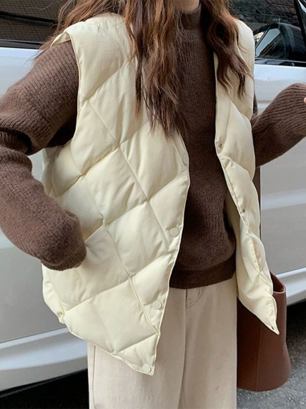 Diamond-Shaped Padded Coat 1 - My Sweet Outfit - EGirl Outfits - Soft Girl Clothes