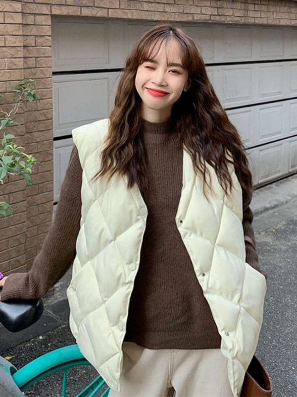 Diamond-Shaped Padded Coat 2 - My Sweet Outfit - EGirl Outfits - Soft Girl Clothes