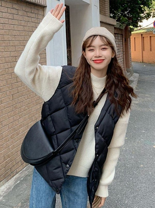 Diamond-Shaped Padded Coat 3 - My Sweet Outfit - EGirl Outfits - Soft Girl Clothes