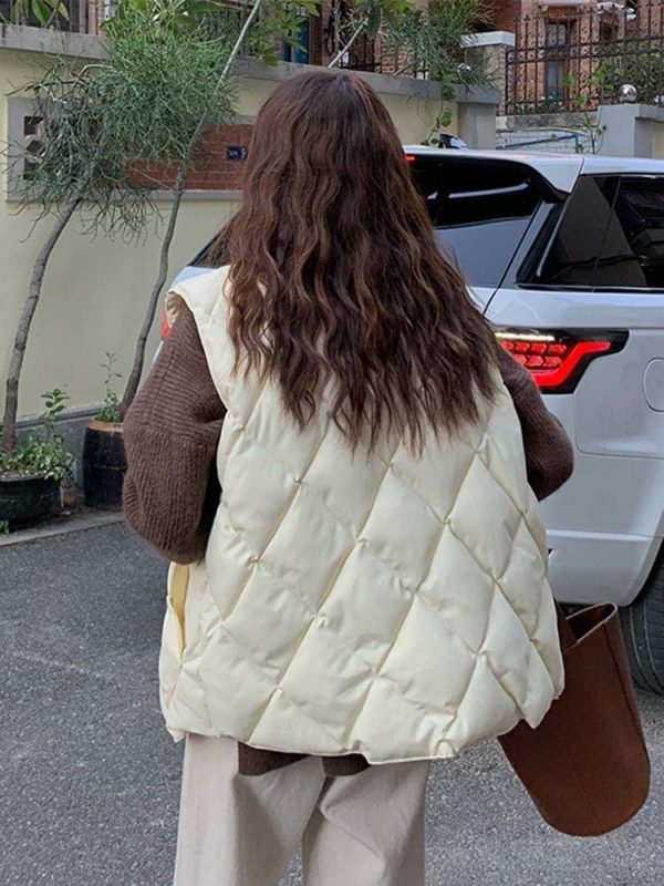 Diamond-Shaped Padded Coat 4 - My Sweet Outfit - EGirl Outfits - Soft Girl Clothes