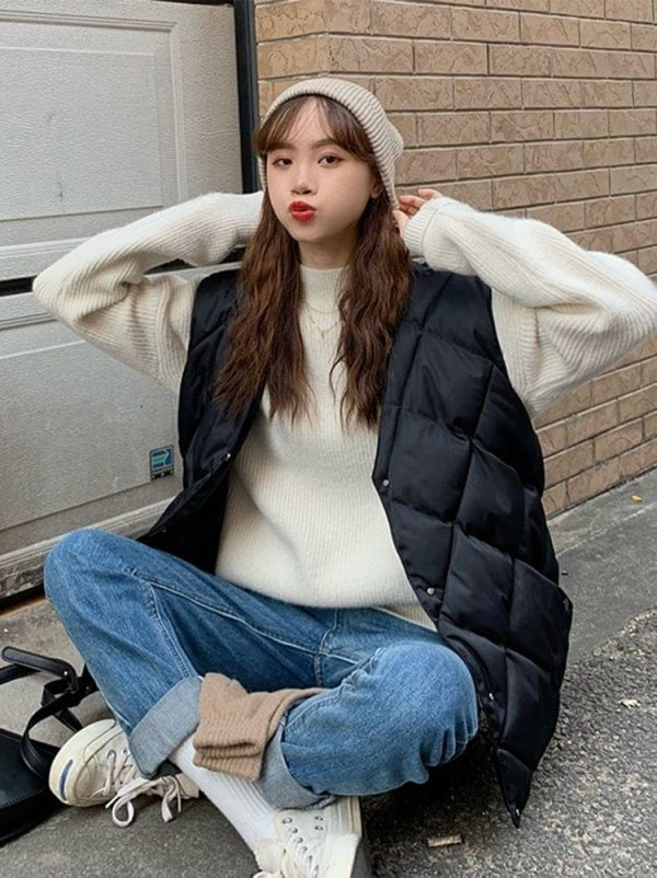 Diamond-Shaped Padded Coat 5 - My Sweet Outfit - EGirl Outfits - Soft Girl Clothes