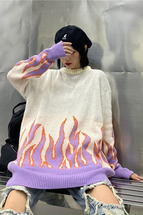 Flame Knitted Loose Sweater 1 - My Sweet Outfit - EGirl Outfits - Soft Girl Clothes