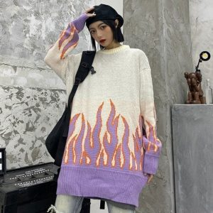 Flame Knitted Loose Sweater 4 - My Sweet Outfit - EGirl Outfits - Soft Girl Clothes