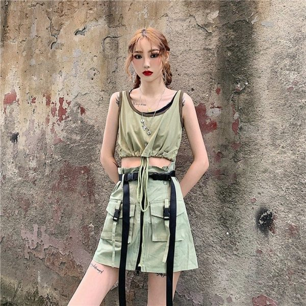 Green Drawstring Casual Top 2 - My Sweet Outfit - EGirl Outfits - Soft Girl Clothes