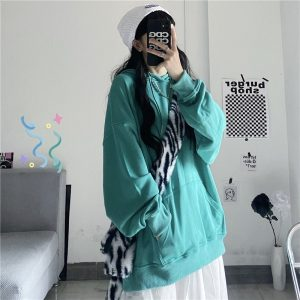 Green No Print Loose Hoodie 1 - My Sweet Outfit - EGirl Outfits - Soft Girl Clothes