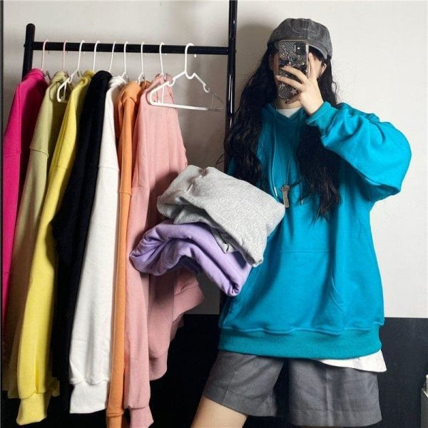 Green No Print Loose Hoodie 3 - My Sweet Outfit - EGirl Outfits - Soft Girl Clothes