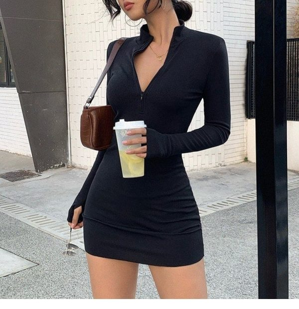 Half-Open Collar Slim Dress 1 - My Sweet Outfit - EGirl Outfits - Soft Girl Clothes