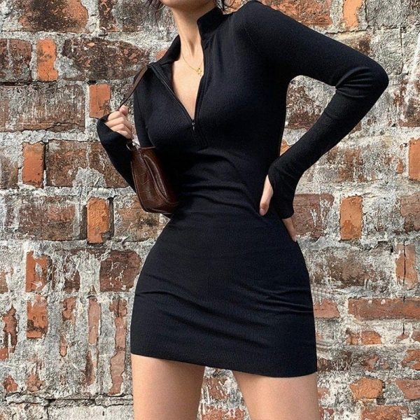 Half-Open Collar Slim Dress 4 - My Sweet Outfit - EGirl Outfits - Soft Girl Clothes