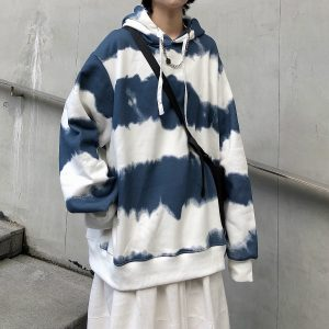 Harajuku Striped Oversized Hoodie 1 - My Sweet Outfit - EGirl Outfits - Soft Girl Clothes