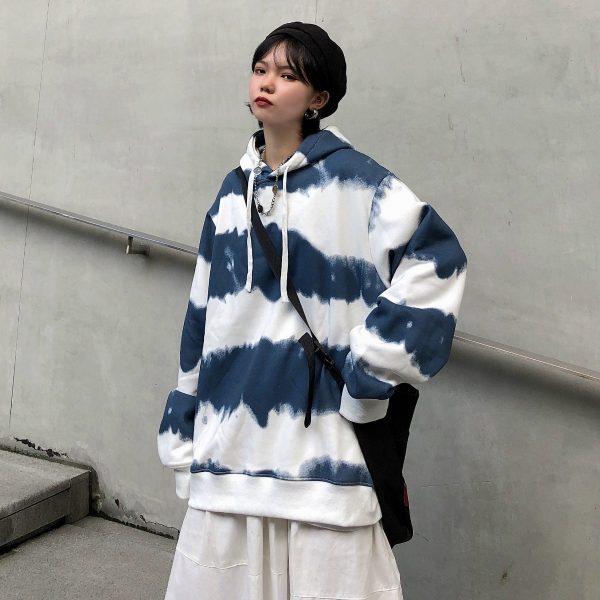 Harajuku Striped Oversized Hoodie 3 - My Sweet Outfit - EGirl Outfits - Soft Girl Clothes