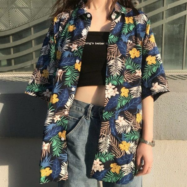 Hawaiian Retro Floral Print Shirt 2 - My Sweet Outfit - EGirl Outfits - Soft Girl Clothes Aesthetic
