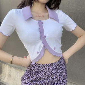 Heart Buttons White Blouse 3 - My Sweet Outfit - EGirl Outfits - Soft Girl Clothes