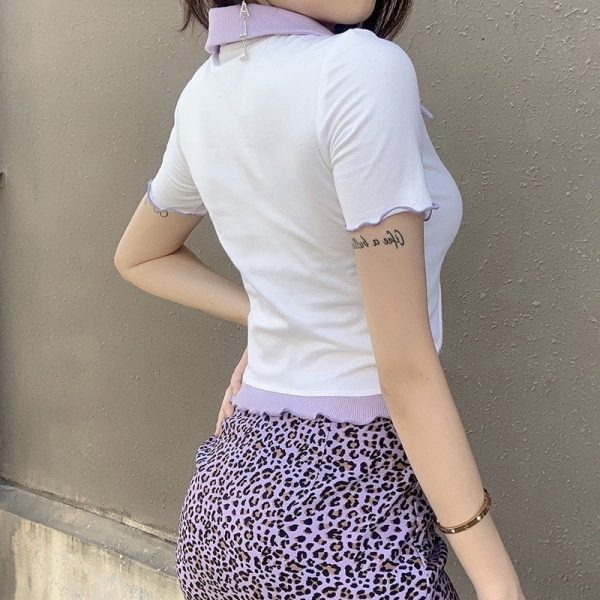 Heart Buttons White Blouse 4 - My Sweet Outfit - EGirl Outfits - Soft Girl Clothes
