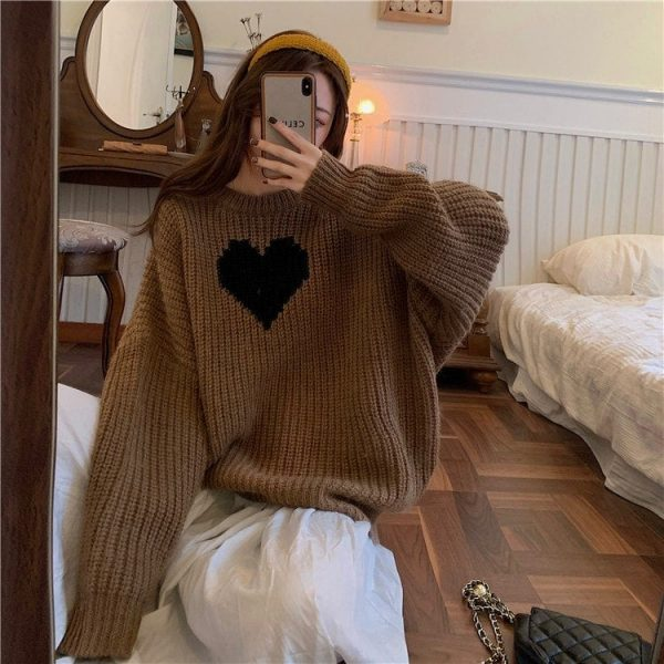 Long Black Heart Knit Sweater 1 - My Sweet Outfit - EGirl Outfits - Soft Girl Clothes