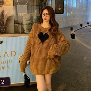 Long Black Heart Knit Sweater 2 - My Sweet Outfit - EGirl Outfits - Soft Girl Clothes