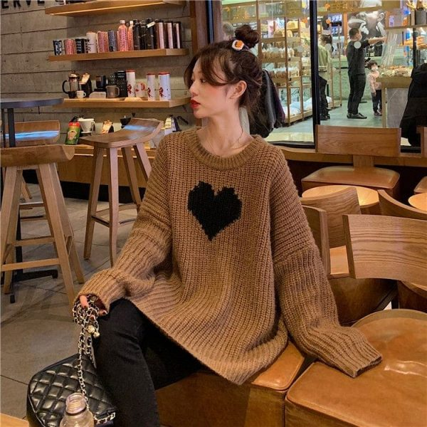 Long Black Heart Knit Sweater 3 - My Sweet Outfit - EGirl Outfits - Soft Girl Clothes