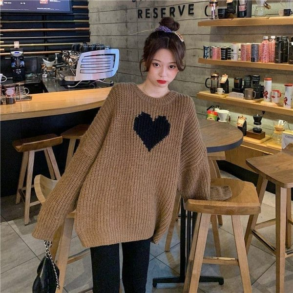 Long Black Heart Knit Sweater 4 - My Sweet Outfit - EGirl Outfits - Soft Girl Clothes
