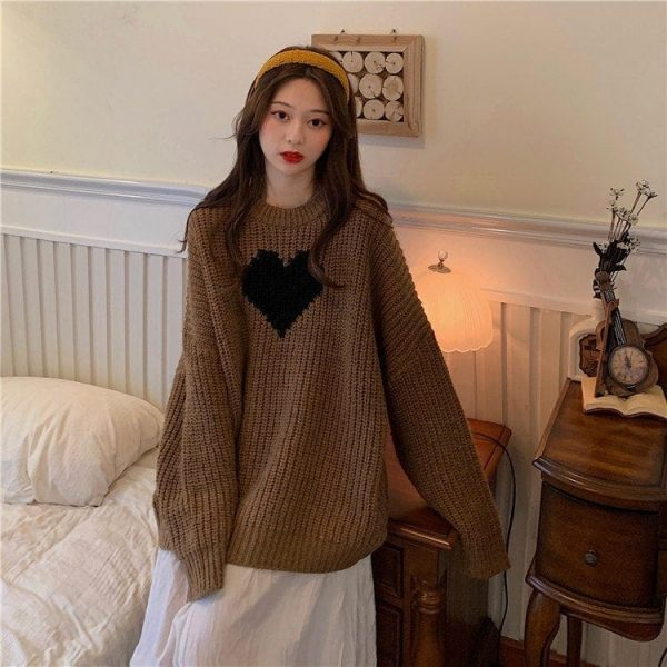 Long Black Heart Knit Sweater 5 - My Sweet Outfit - EGirl Outfits - Soft Girl Clothes
