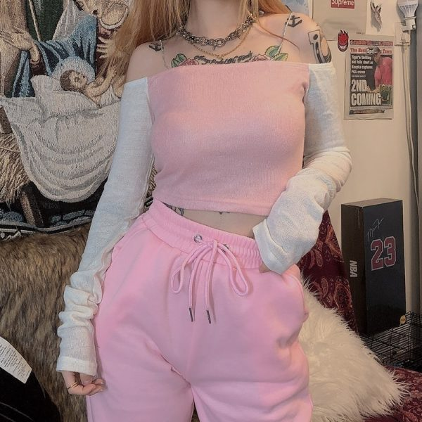 Long Sleeve Pink Top 4 - My Sweet Outfit - EGirl Outfits - Soft Girl Clothes