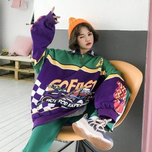 Loose Rasing Print Sweatshirt 1 - My Sweet Outfit - EGirl Outfits - Soft Girl Clothes