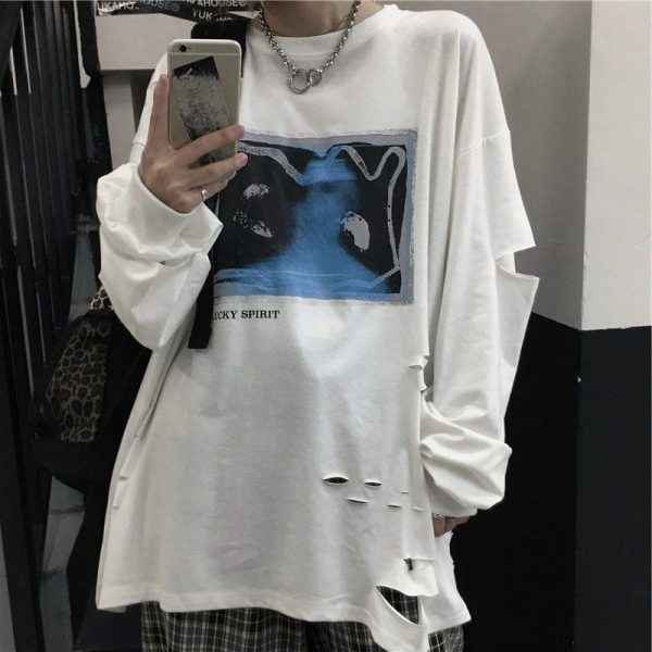 Lucky Spirit Ripped Sweatshirt 1 - My Sweet Outfit - EGirl Outfits - Soft Girl Clothes