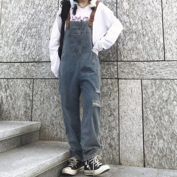 Multi-Pocket Denim Jumpsuit 1 - My Sweet Outfit - EGirl Outfits - Soft Girl Clothes