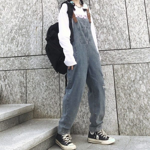 Multi-Pocket Denim Jumpsuit 3 - My Sweet Outfit - EGirl Outfits - Soft Girl Clothes
