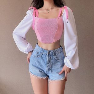 Off The Shoulder Strappy Princess Blouse 3 - My Sweet Outfit - EGirl Outfits - Soft Girl Clothes Aesthetic