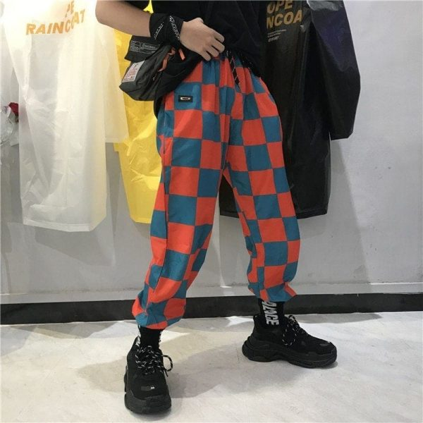 Orange Check Slim Ankle Pants 2 - My Sweet Outfit - EGirl Outfits - Soft Girl Clothes