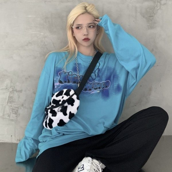 Oversize Long-sleeved Sweatshirt Butterfly Graffiti 1 - My Sweet Outfit - EGirl Outfits - Sot Girl Clothes