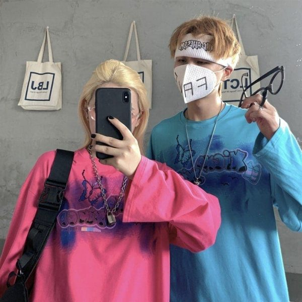 Oversize Long-sleeved Sweatshirt Butterfly Graffiti 3 - My Sweet Outfit - EGirl Outfits - Soft Girl Clothes