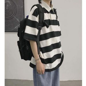 Oversized Black Striped Polo 1 - My Sweet Outfit - EGirl Outfits - Soft Girl Clothes