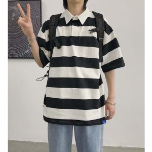 Oversized Black Striped Polo 2 - My Sweet Outfit - EGirl Outfits - Soft Girl Clothes