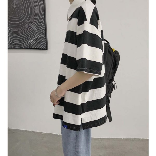 Oversized Black Striped Polo 3 - My Sweet Outfit - EGirl Outfits - Soft Girl Clothes