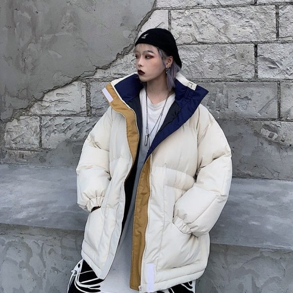 Oversized Zip Collar Padded Jacket 1 - My Sweet Outfit - EGirl Outfits - Soft Girl Clothes Aesthetic