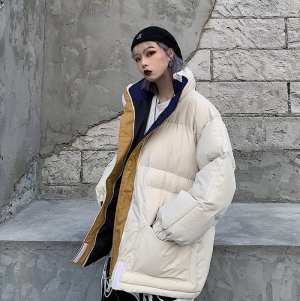 Oversized Zip Collar Padded Jacket 2 - My Sweet Outfit - EGirl Outfits - Soft Girl Clothes Aesthetic
