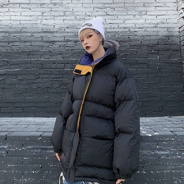 Oversized Zip Collar Padded Jacket 3 - My Sweet Outfit - EGirl Outfits - Soft Girl Clothes Aesthetic