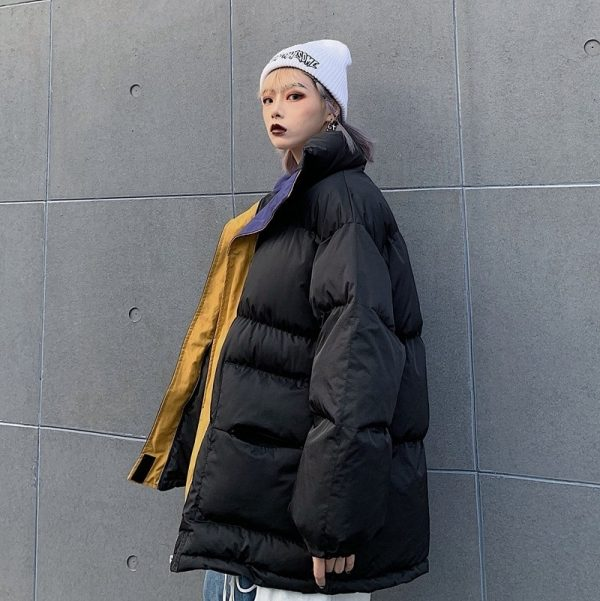 Oversized Zip Collar Padded Jacket 4 - My Sweet Outfit - EGirl Outfits - Soft Girl Clothes Aesthetic