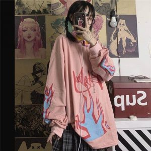 Pink Flame Loose Sweater 1 - My Sweet Outfit - EGirl Outfits - Soft Girl Clothes