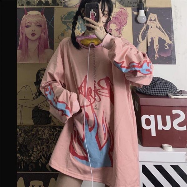 Pink Flame Looase Sweater 2 - My Sweet Outfit - EGirl Outfits - Soft Girl Clothes