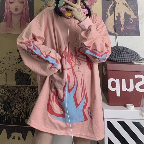 Pink Flame Loose Sweater 3 - My Sweet Outfit - EGirl Outfits - Soft Girl Clothes