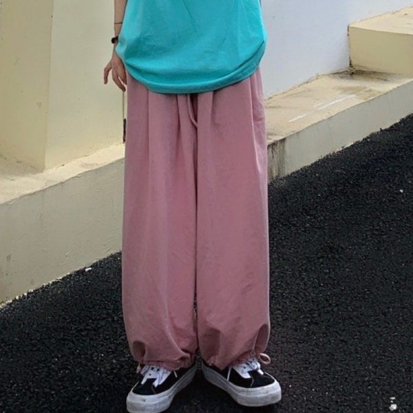 Pink High Waist Straight Wide Pants 1 - My Sweet Outfit - EGirl Outfits - Soft Girl Clothes