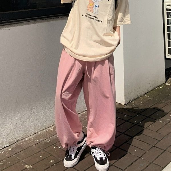 Pink High Waist Straight Wide Pants 2 - My Sweet Outfit - EGirl Outfits - Soft Girl Clothes