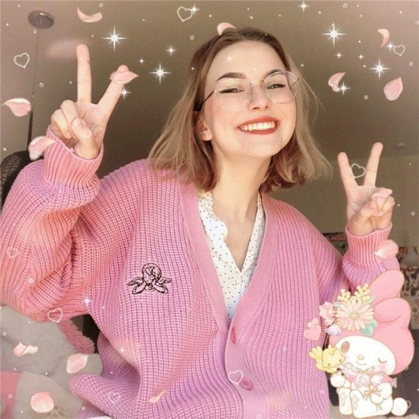 Pink Retro Girl French Cardigan 1 - My Sweet Outfit - EGirl Outfits - Soft Girl Clothes