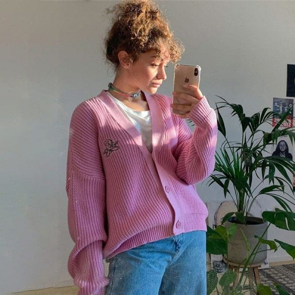 Pink Retro Girl French Cardigan 2 - My Sweet Outfit - EGirl Outfits - Soft Girl Clothes