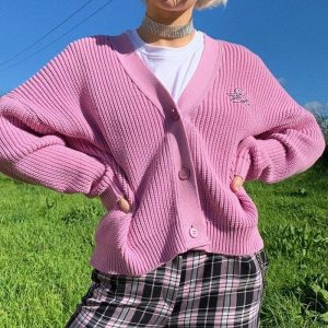 Pink Retro Girl French Cardigan 3 - My Sweet Outfit - EGirl Outfits - Soft Girl Clothes
