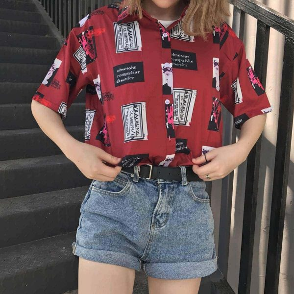 Printed Short-Sleeved Shirt 4 - My Sweet Outfit - EGirl Outfits - Soft Girl Clothes