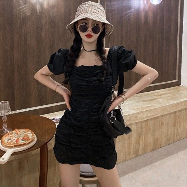 Puff Sleeve SoftGirl Short Dress 2 - My Sweet Outfit - EGirl Outfits - Soft Girl Clothes Aesthetic (3)