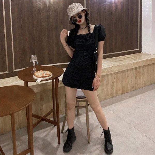 Puff Sleeve SoftGirl Short Dress 2 - My Sweet Outfit - EGirl Outfits - Soft Girl Clothes Aesthetic (4)
